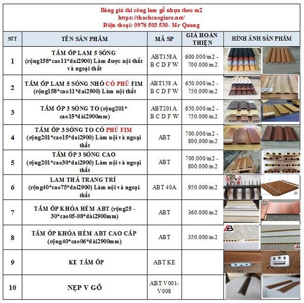 báo giá thi công lam gỗ nhựa